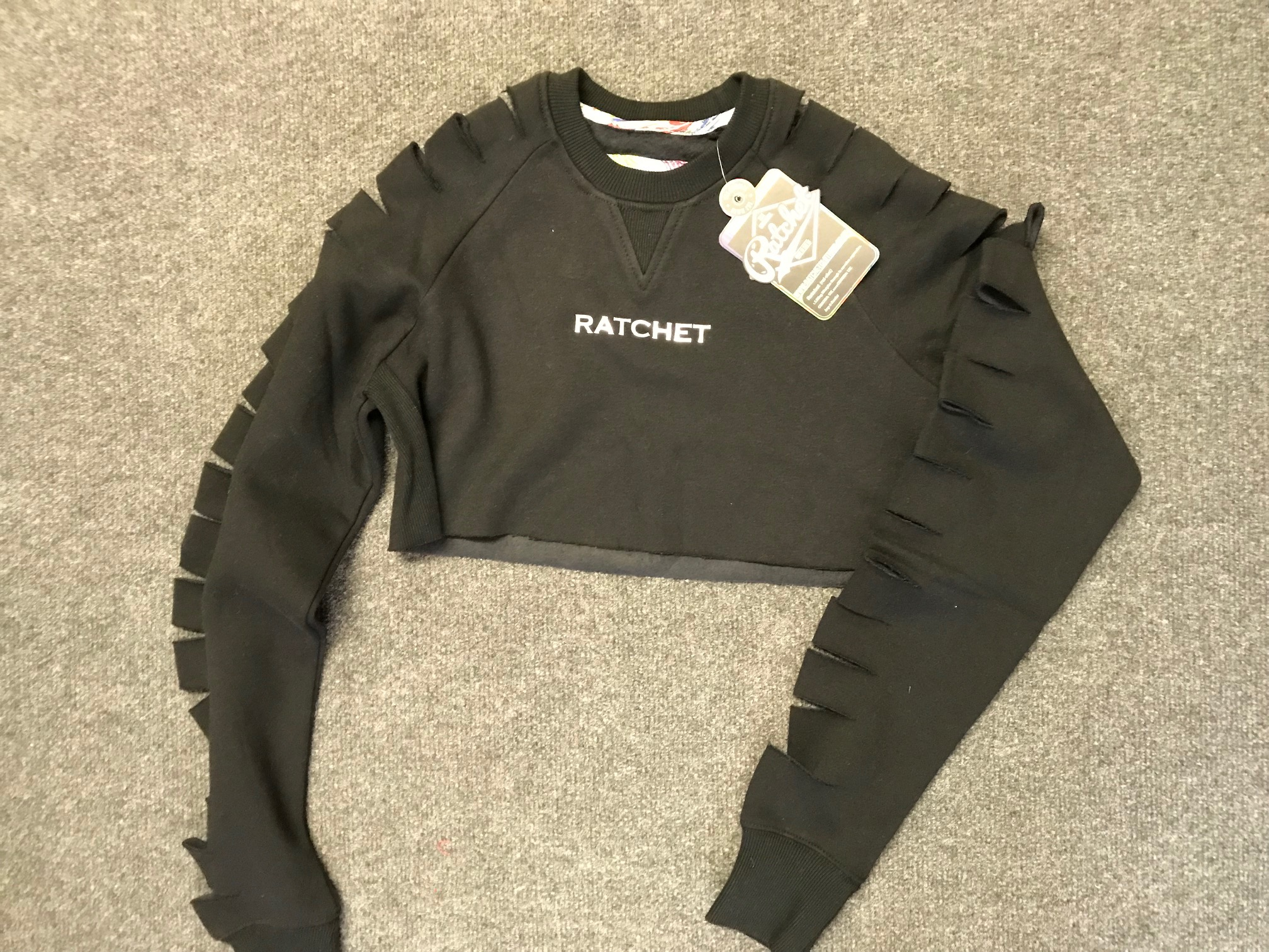 Ratchet Clothing adult slash sleeve crop sweat