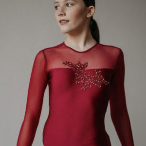 EMMIE LEO BURGUNDY WITH APPLIQUE By Squad Dancewear