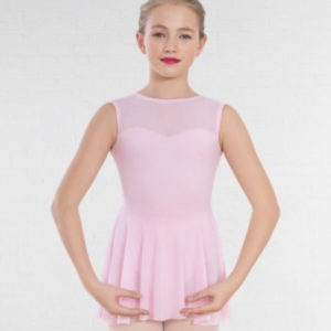 Mesh Panel Sweetheart Neck Skirted Leotard
