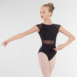 Raglan Sleeve Open Back Mesh Panel Leotard