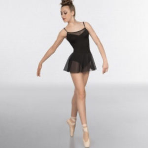 1st Position Mesh insert and Skirted Fashion Leotard Black