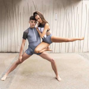 Rory MacLeod Grey Leotard with Grey Mesh Sleeves by Squad Dancewear