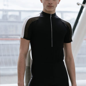 Rory MacLeod Black Leo – with white & black mesh sleeve by Squad Dancewear