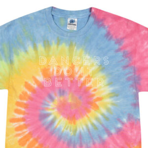 Dancers do it better Rainbow tie dye crop tee by Stage Dancewear